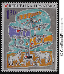 Christmas stamp printed in Croatia - A greeting Christmas...