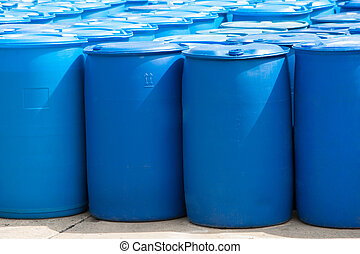Blue Barrels - Chemical Plant, Plastic Storage Drums, Blue...