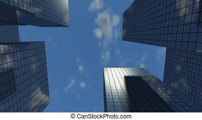 Skyscrapers and sky looping.