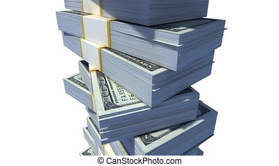 Stack of Dollar Bills 1080p HD CG Animation with alpha matte...