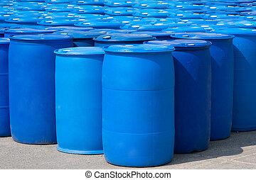 Blue Barrels - Chemical Plant, Plastic Storage Drums, Blue...
