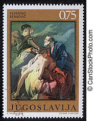 Abraham Sacrificing Isaac - Stamp printed in Yugoslavia...