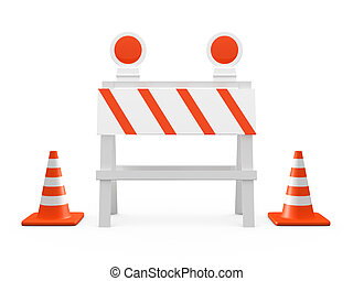Road Barrier and Traffic Cones - Road barrier or...