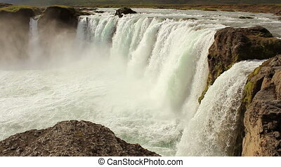 Godafoss side view - Famous Godafoss waterfall on Iceland...