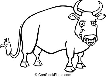 farm bull cartoon for coloring book - Black and White...