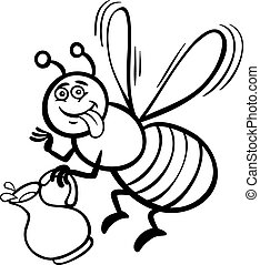 honey bee cartoon for coloring book - Black and White...