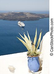 view cruise ship in harbor santorini