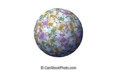 Money Globe with Euro notes.