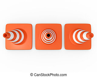Traffic Cones - Three orange highway traffic cones with...