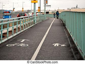 Pedestrians on bridge