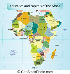 countries and capitals in Africa - Vector illustration