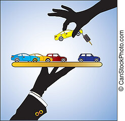 Car Sale or Car Rent Concept - Illustration of Car Sale - A...