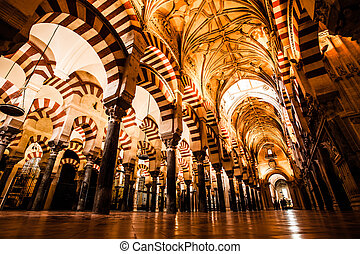 The Great Mosque or Mezquita famous interior in Cordoba,...