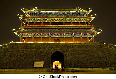 Qianmen Zhengyang Gate Tiananmen Square Beijing, China Night...