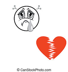 Valentines Day background - Sad face with a broken heart