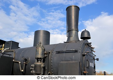 Details of a historic steam locomotive in the Magdeburg...
