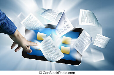 e book reader and books - the library in the e-book concept...