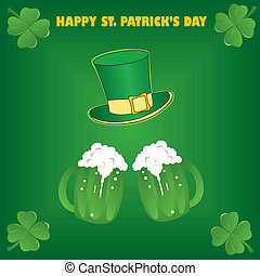 Saint Patrick's Day festive frame with beer and space for...