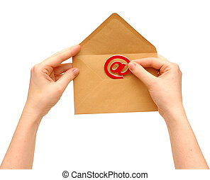Envelope and e-mail in the hands of women