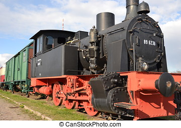 old historic steam locomotive in the Magdeburg harbor