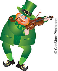 St Patricks Day Leprechaun Playing Violin - St Patricks Day...