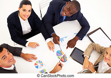 overhead view of business meeting - overhead view of group...