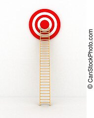 Ladder to middle of target on white background