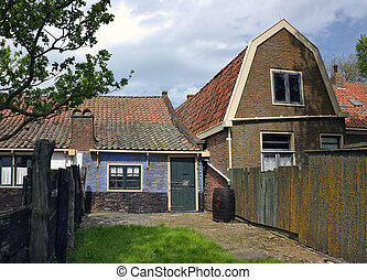 Old houses - Backyards of old Dutch houses in Enkhuizen