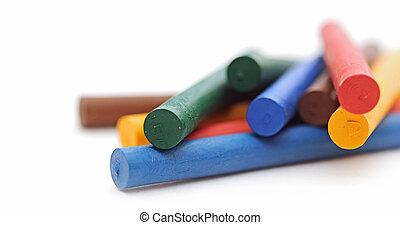 gizes, variedade, cores, organizado, branca, fundo