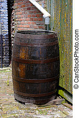rainwater barrel - Old barrel for collecting rainwater in...