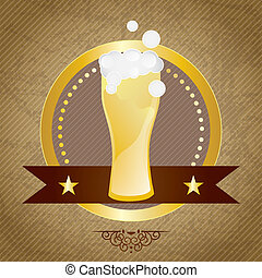 Beer Labels - Glass of beer, with bubbles, on vintage...