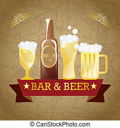 Beer Labels - Bar & beer elements. On vintage background....