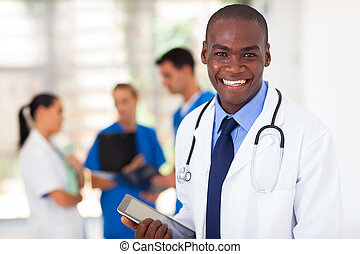 african american healthcare worker - handsome african...
