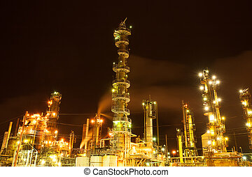 Oil refinery - Lights of oil refinery near Halifax, Nova...