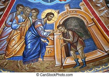 Cristo, curación, invidente