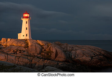Nova Scotia - Peggys Point Lighthouse at night, Nova Scotia