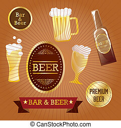 Beer Labels with retro colors, on vintage background. Vector...
