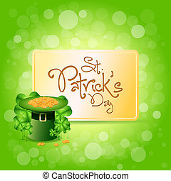 St. Patricks Day Card with Leprechaun Hat, Gold Coins and...