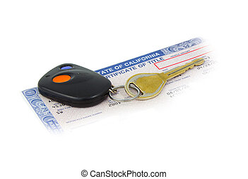Worn car key on California certificate of Title with crean...