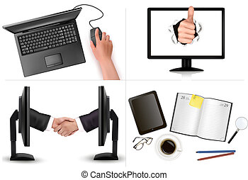 Big set of business and office backgrounds