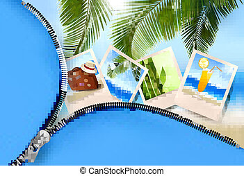 Background with photos from holidays on a seaside  Summer holidays concept  Vector