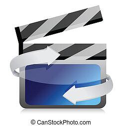 Film clap board cinema on the move