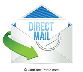 advertising Direct Mail working concept illustration design...