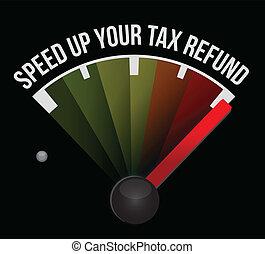 Speed up your tax refund speedometer illustration design...