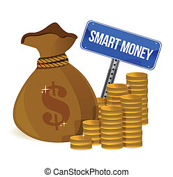 smart money bag and coins illustration design over a white...