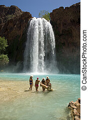 Beautiful Young Women in front of Havasu Falls - Beautiful...