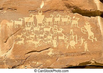 Hunters Panel - Indian Petroglyph located in Nine Mile...
