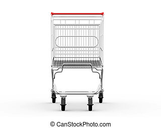 Empty Shopping Cart - Empty shopping cart, front view,...