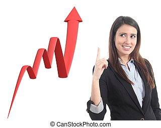 Businesswoman and a 3d render of a growth graph on a white...