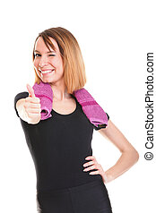 Portrait of successful winner celebrating by dancing. Beautiful young happy woman isolated on white with thumbs up